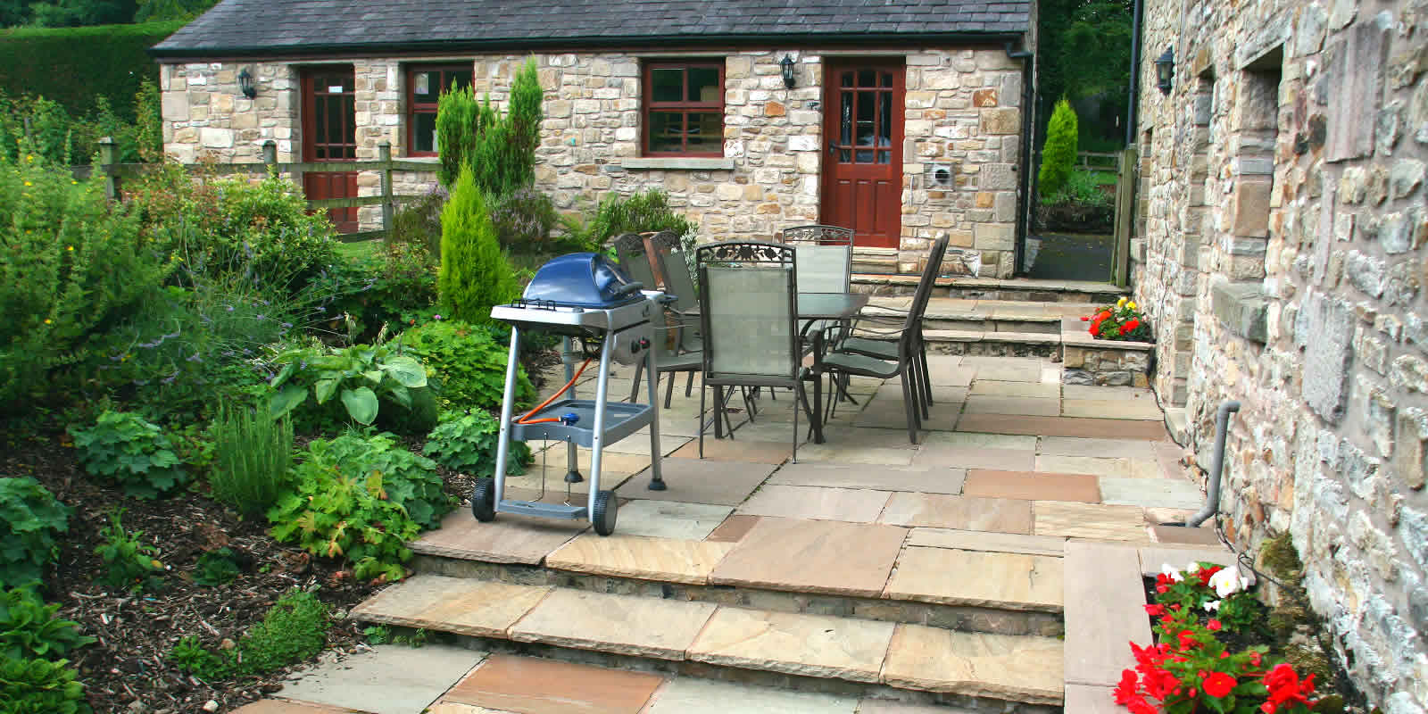 Beech Tree Cottage patio. Luxury Holiday Cottages Lancashire