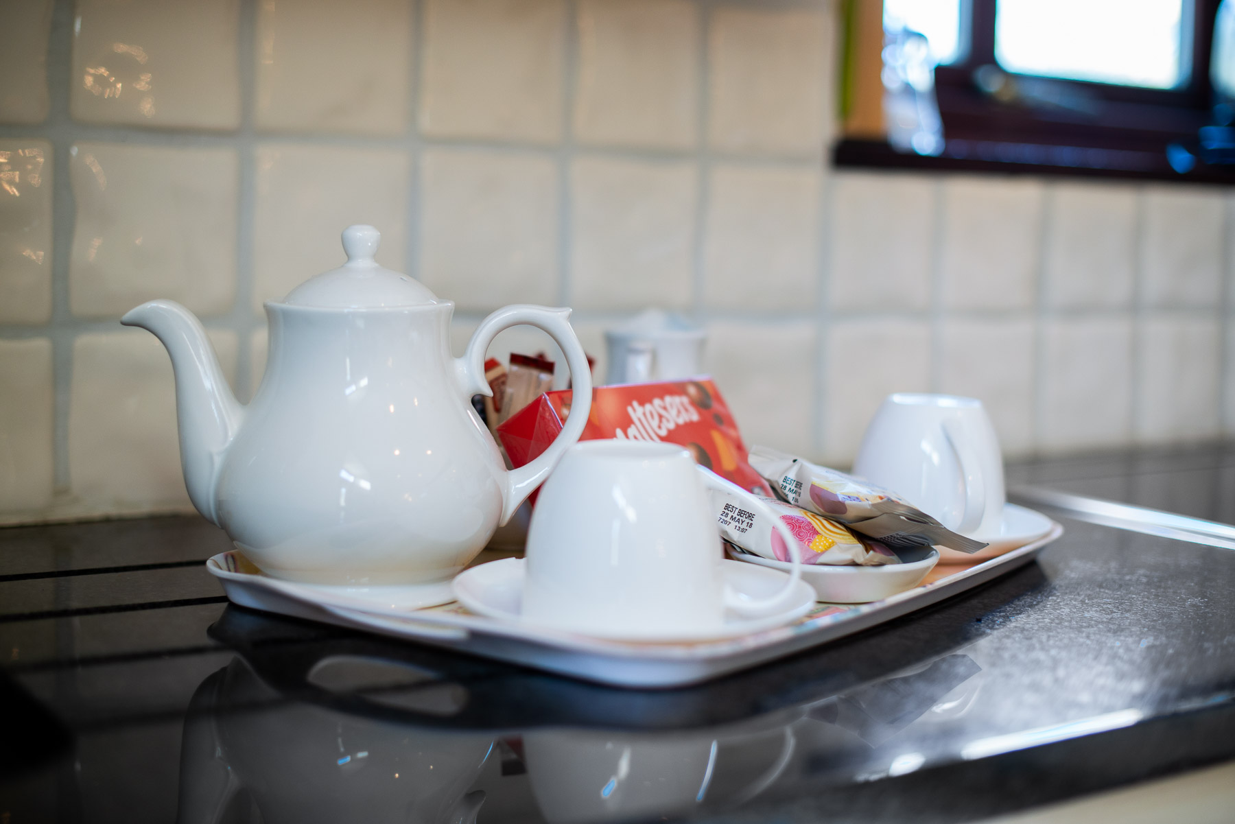 Blue Bell Welcome Tray. Luxury Preston Holiday cottage