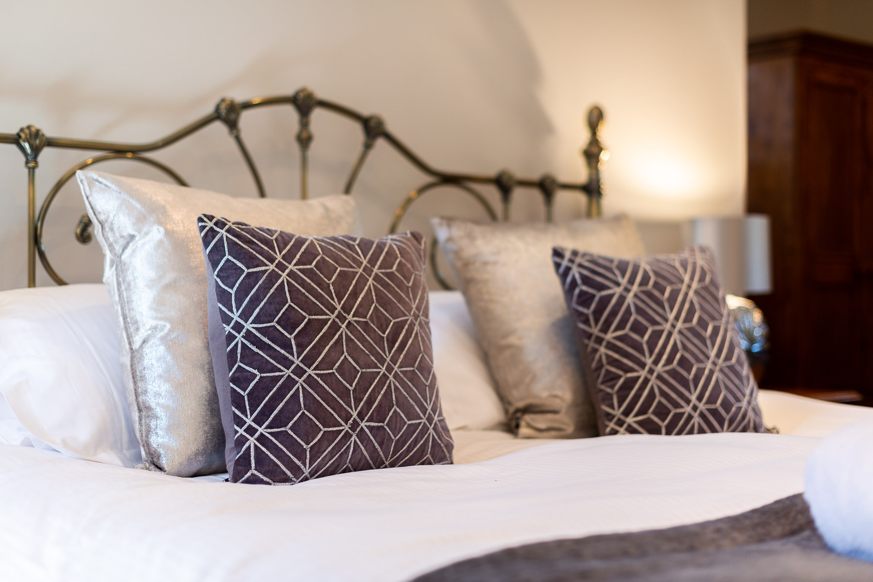 Boutique furnishings in Blue Bell Studio. Luxury Preston holiday cottage.