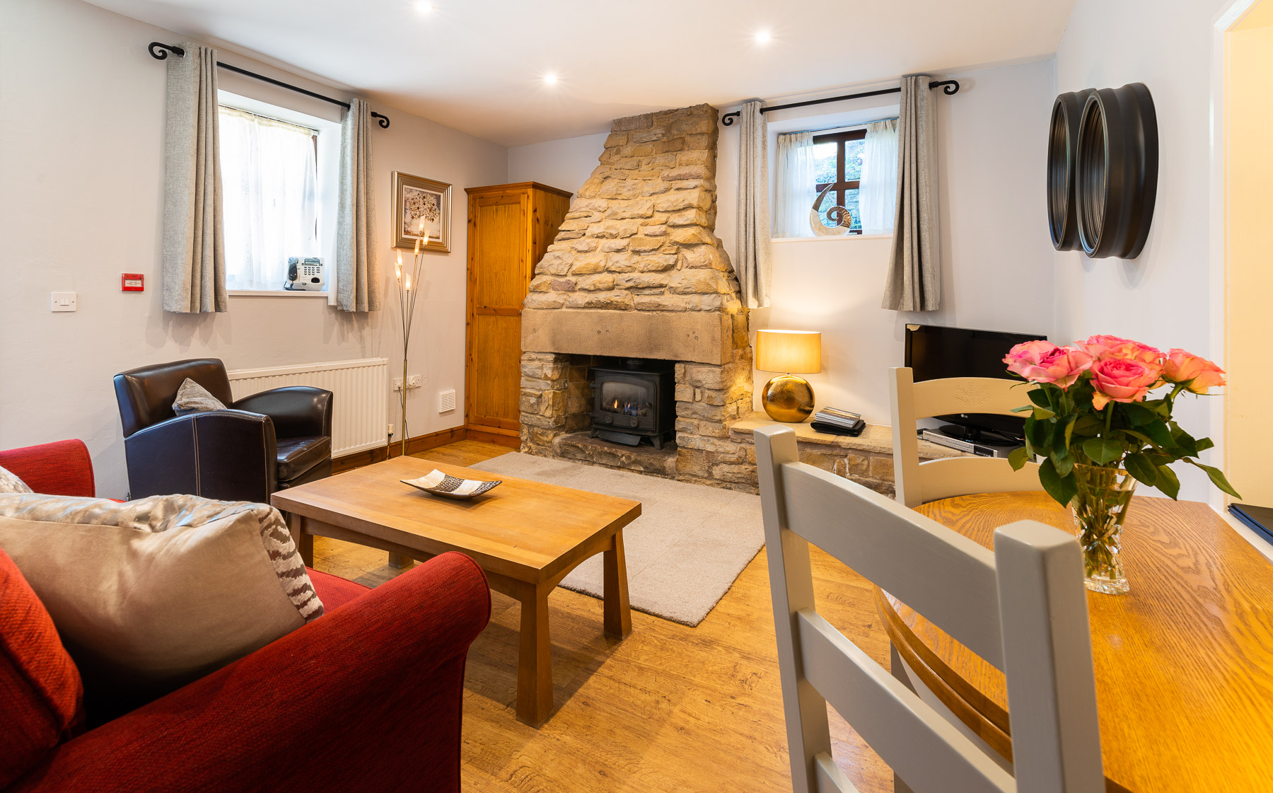 Lounge Fire in Bowland Bower a Ribble Valley Holiday Cottage in Lancashire